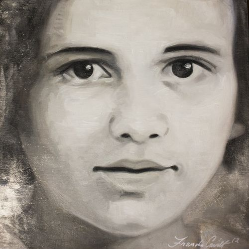 Young Margaret - mixed media on wood panel 10x10