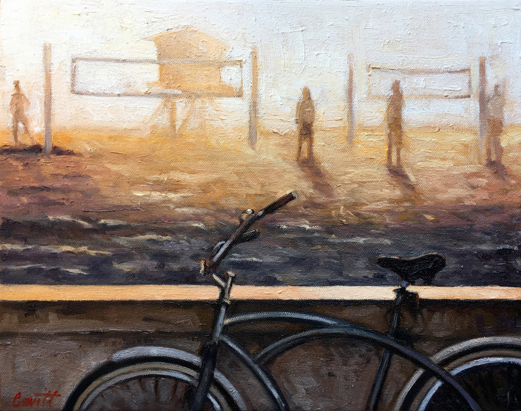 South Mission Beach at Sunset Painting--oil on canvas