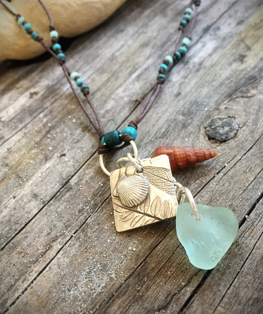 BoHo Necklace with Seaglass and Handmade Silver Sage Leaf-Sea Shell Pendant and Seashell