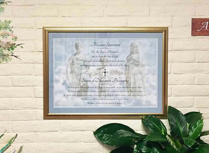 Nazareth Mission Statement Framed