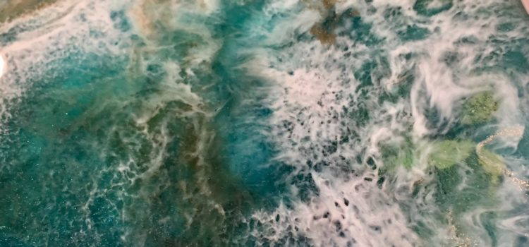 Of the Sea—abstract painting on wood panel