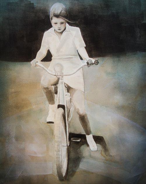 Margaret on a Bike - 11x14